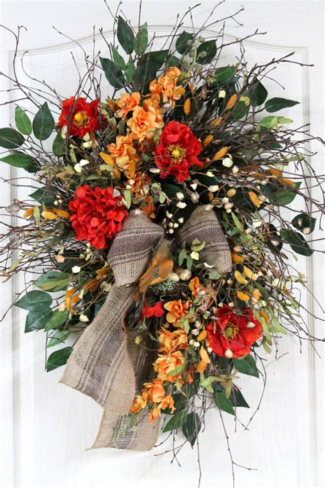 Country Wreaths For Front Door Items Similar To Front Door Wreath Country Wreath Summer Wreath Birch Twig Wreath