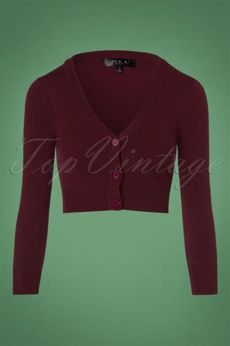 50s shela cropped cardigan in burgundy