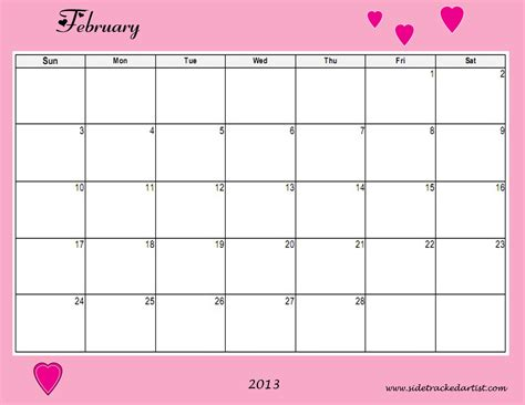 February 2013 Calendar Sidetracked Artist Printable February 2013 Calendar
