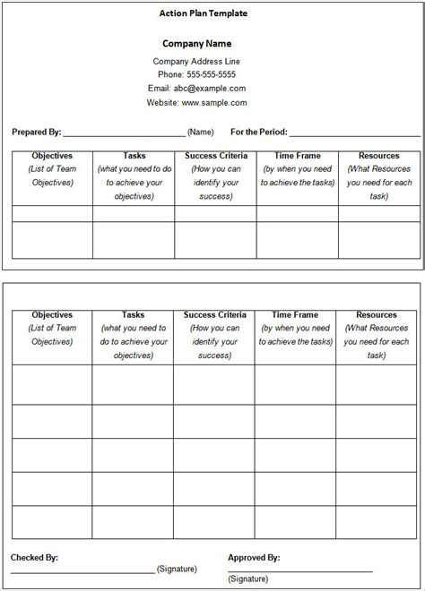 sales action plan template 11 free word excel pdf