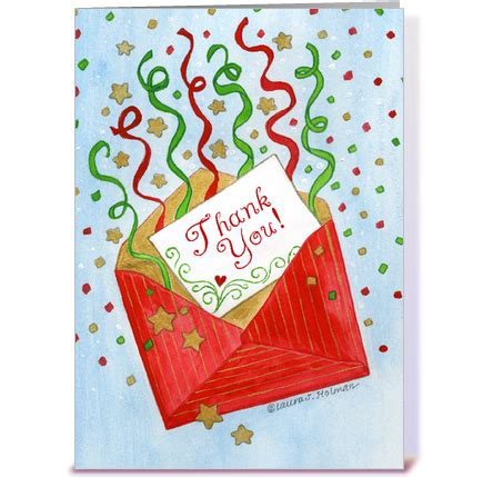 Thank You Cards Christmas Gifts - christmas gift red envelope thank you greeting card by the art of laura j holman