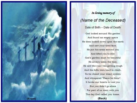 funeral prayer card template free 8 best images of free printable memorial prayer cards