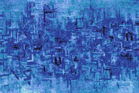 Blue pattern Tile   Coded Distress Cobalt by ARTAIC
