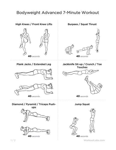 printable exercise routines home advanced 7 minute at home printable workout for men women