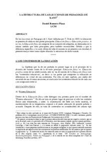 """La estructura de las """"Lecciones de Pedagogía"""" de Kant - E"""