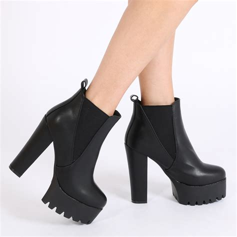 High Heel hallie black pu high heel chelsea boots desire