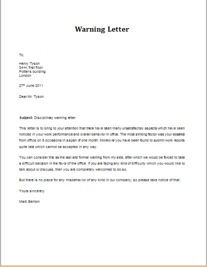 Labour Warning Letter 7 Professional Warning Letter Templates Formal Word Templates