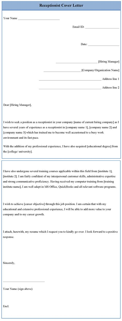 Cover Letter Template For Receptionist by Receptionist Cover Letter Template Sle Templates