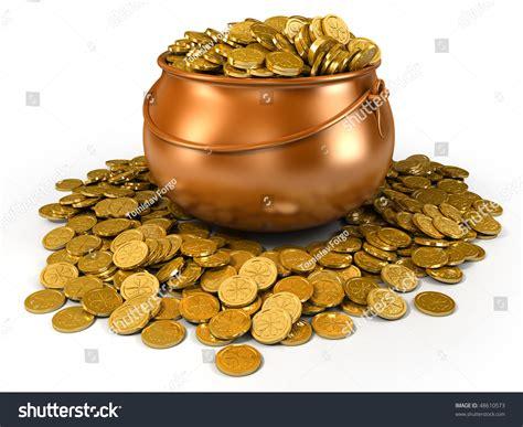 Stock Pot Golden pot of golden coins stock photo 48610573