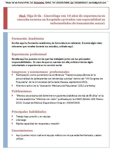 Modelo Curriculum Dominicano curriculum vitae de un m 233 dico gt ejemplos formatos y plantillas 161 gratis milformatos