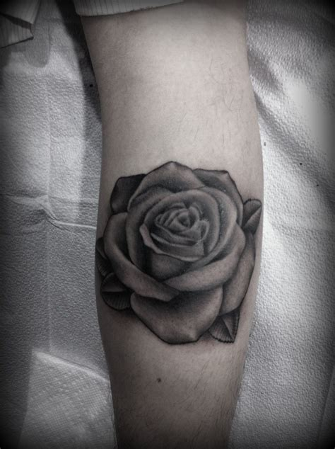 rose and leaf tattoos black and grey do purple shades with grey leaves