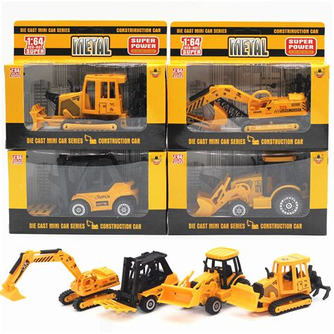 Diecast Construction Playset Isi 6pcs Die Cast Metal Se327 alloy engineering vehicles diecast cars excavator bulldozer metal model car dinky toys for