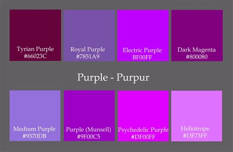 colors make purple 5 best images of shades of purple color chart with names