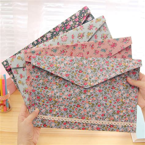 Floral File Folder Big A4 2017 new vintage small flower fabric a4 document file