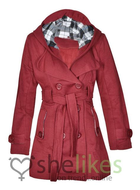 Hooded Button Coat new womens hooded belted fleece button coat check