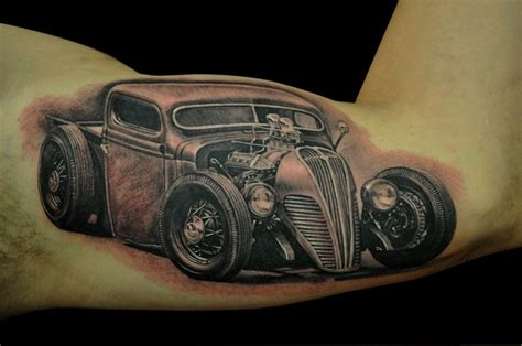 tattoo hot rod art 1937 black and gray hotrod by josh duffy tattoonow