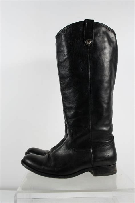 extended calf boots frye black leather extended calf pull on boots size 9b ebay
