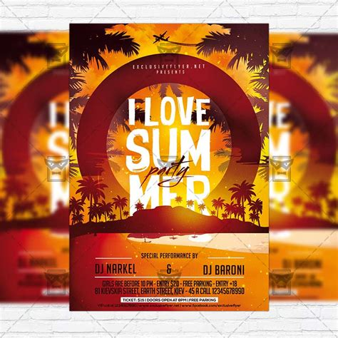 I Love Summer Party Premium Flyer Template Facebook Cover Exclsiveflyer Free And Premium 12 Days Of Flyer Template