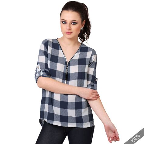 Tartan Blouse 1 womens chiffon check tartan plaid plunging v neck shirt blouse dip hem top ebay
