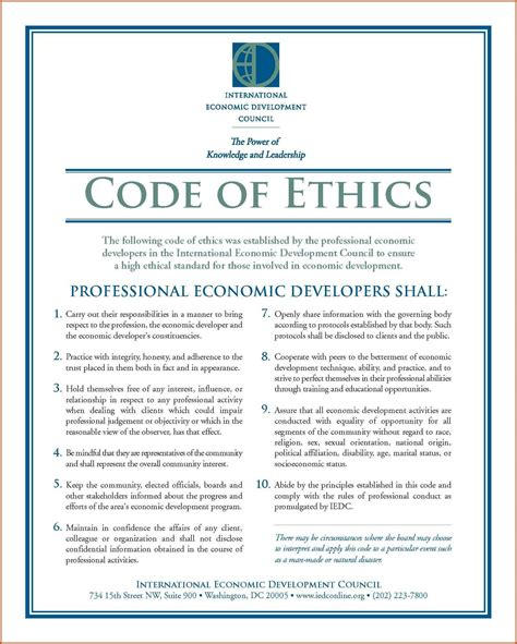 code of conduct exles sop exle