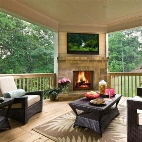 Porch Fireplace by The Corner Fireplace Tv Decks Porch Ideas