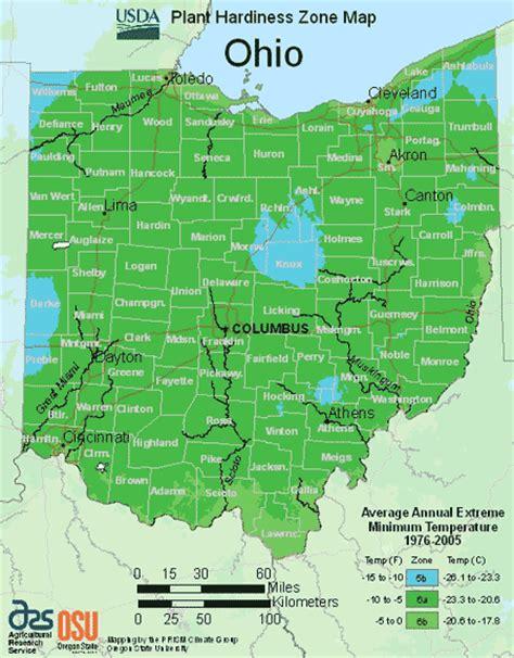 Garden Zones Ohio Map Of Usda Hardiness Zones For Ohio