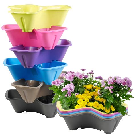 herb planter outdoor pots and planters by stackable plastic 3 plants flower pots pot holder coloured