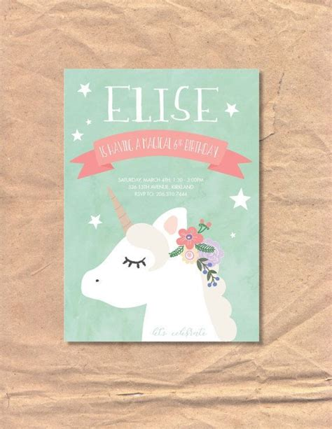 printable birthday cards etsy printable unicorn birthday invitation by frelladesigns on