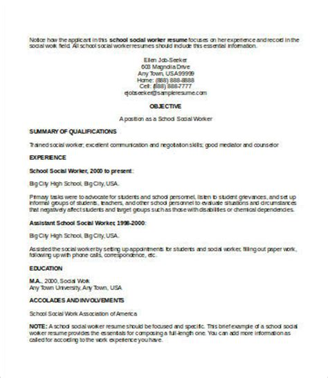 Social Work Resume Template by 10 Social Work Resume Templates Pdf Doc Free