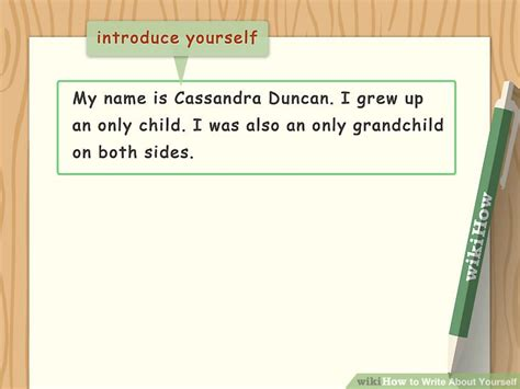 Writing A Paper About Yourself by How To Write About Yourself With Exles Wikihow