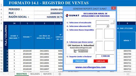 vencimiento de la daot 2015 daot sunat macro para calcular y generar reportes para