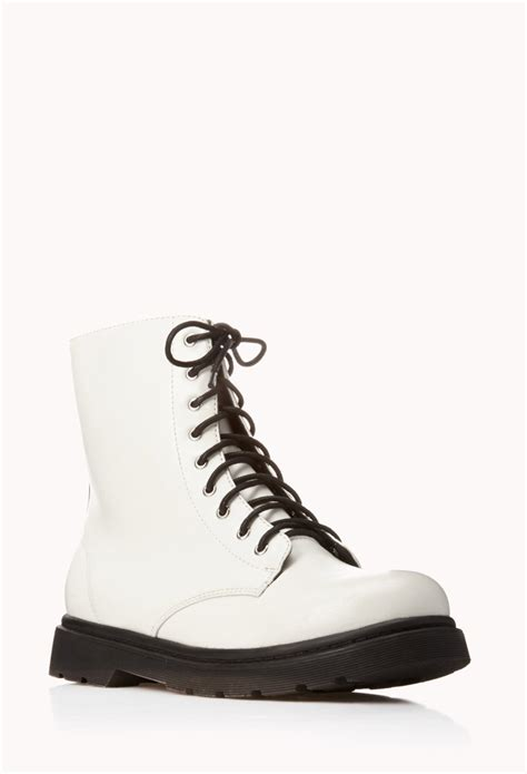 forever 21 sleek combat boots in white lyst