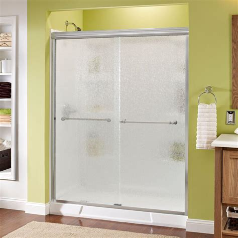 Delta Shower Doors Delta Silverton 60 In X 70 In Semi Frameless Sliding Shower Door In Chrome With Glass