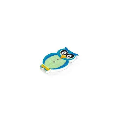Owl Wooden Button wooden button owl blue ma mercerie