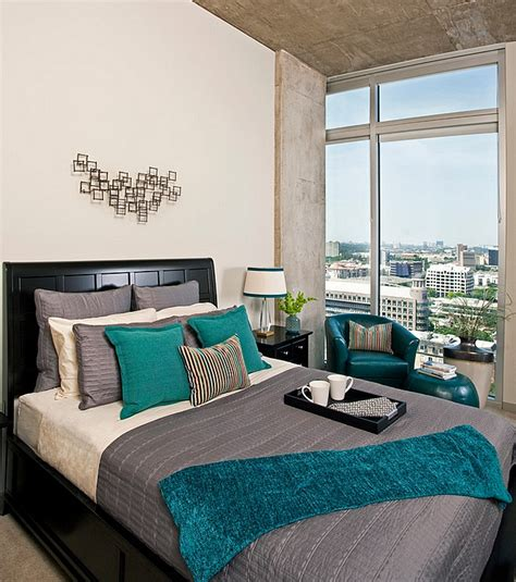 grey bedroom with teal accents hot color trends coral teal eggplant and more