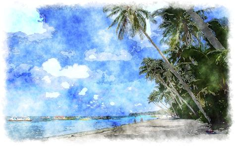 paint island watercolor tropical scenery
