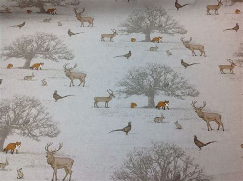 Deer Upholstery Fabric by Fryett S 100 Cotton Tatton Woodland Fabric For Curtain