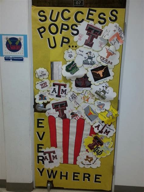 themes in college classroom door decorated for college month first place