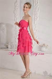 elegant short ruched and layered pink bridesmaid dress