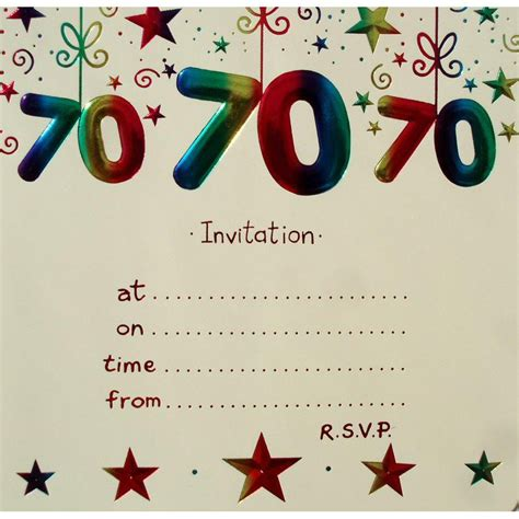 70th birthday invitation card template 15 70th birthday invitations design and theme ideas