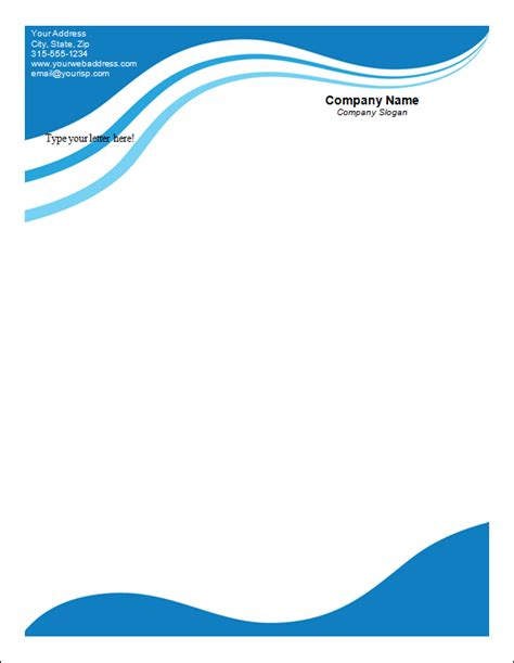 plantilla business letterhead with blue waves 10 letterhead template free documents in pdf