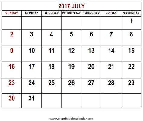 Calendar July 2017 Printable 2017 July Calendar