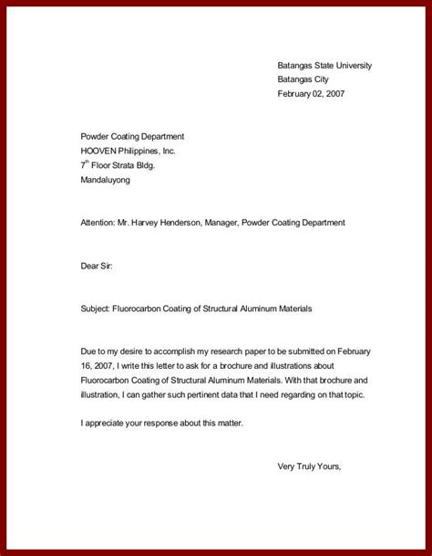 Business Letter Sle For Inquiry Letter Of Inquiry For A Inquiry Letter Sle For Free