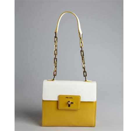 Dompet Tas Clutch Pad Lock Chain prada golden rod and white crosshatched leather chain turn lock shoulder bag in yellow lyst