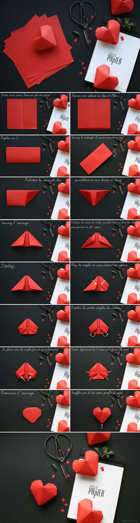 3d Hearts Origami - diy paper hearts pictures photos and images for