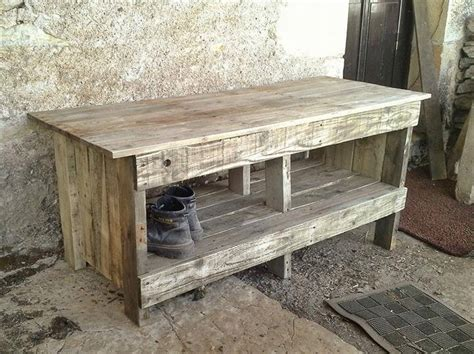 rustic pallet bench diy pallet entryway bench with shoe rack