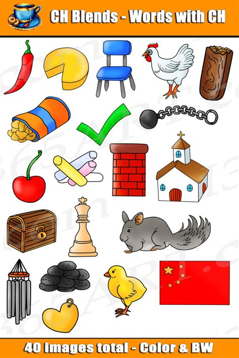 clipart words ch digraph clipart word blends for commercial use