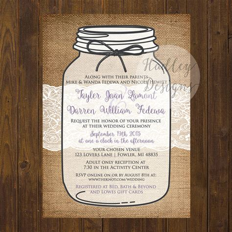 jar invite template jar wedding invitations card design ideas