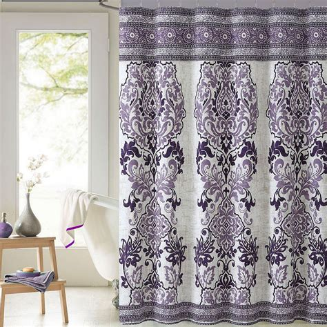 purple fabric shower curtains mariah damask printed cotton fabric shower curtain purple