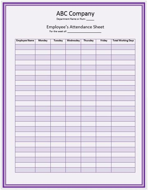 Attendance History Card Free Template by Office Staff Attendance Sheet Template Official